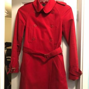 Ted Baker red trench coat.